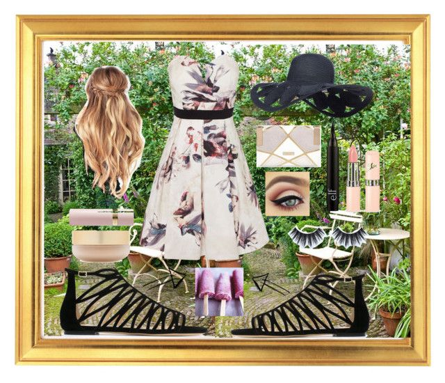 """""""Garden Party"""" by girluntold ❤ liked on Polyvore featuring Little Mistress, Jimmy Choo, River Island, Huda Beauty, Eve Lom, Valentino, fancy and makearequest"""