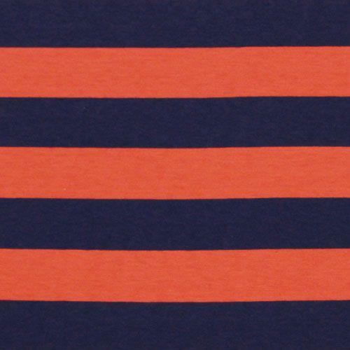 b16b547d813 Navy Orange Stripe Polished Cotton Jersey Knit Fabric | Perfect ...