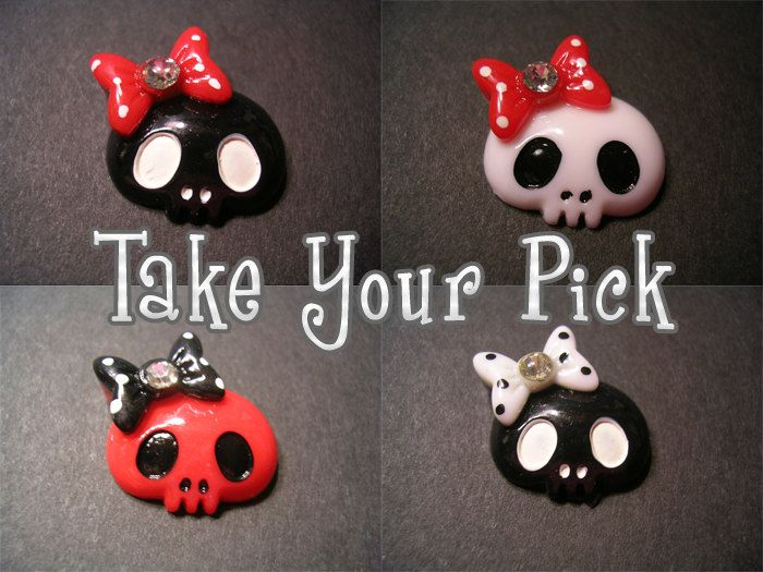Adorable Skull Adjustable Band Ring - Black Red or White Skull with Hair Bow and Rhinestone