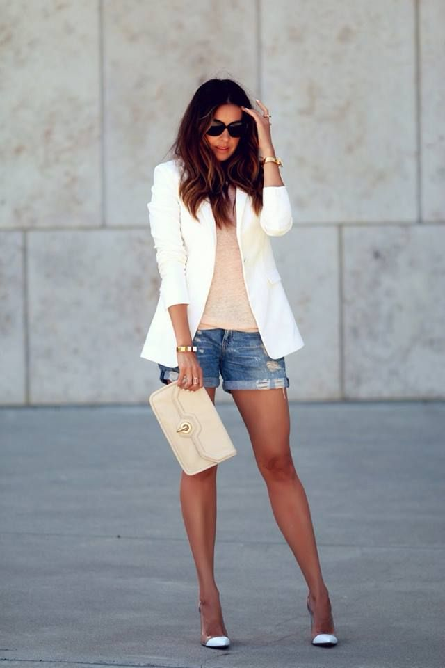 178a7765a7f White Blazer Jacket with Jean Shorts and Heels