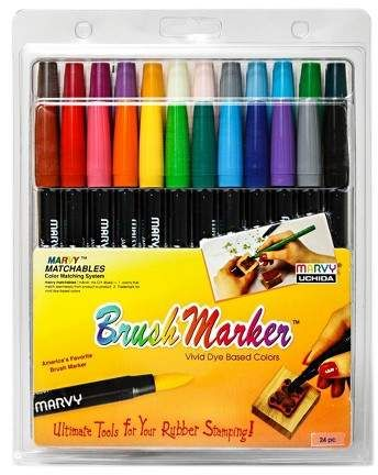 Brush Markers Multicolor 24ct Marvy Uchida Brush Markers