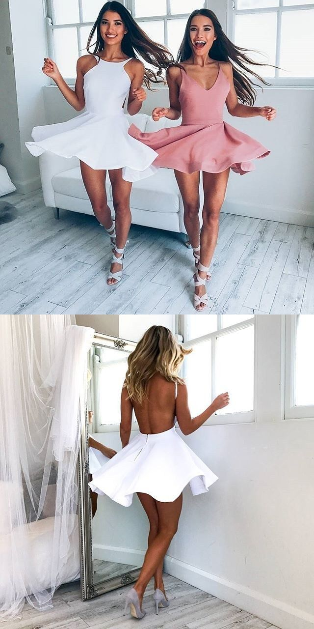 Aline round neck backless white short homecoming dress white