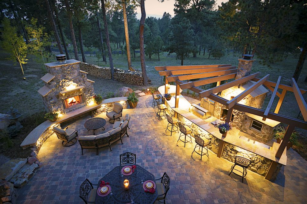 Lighting enhances this outdoor space