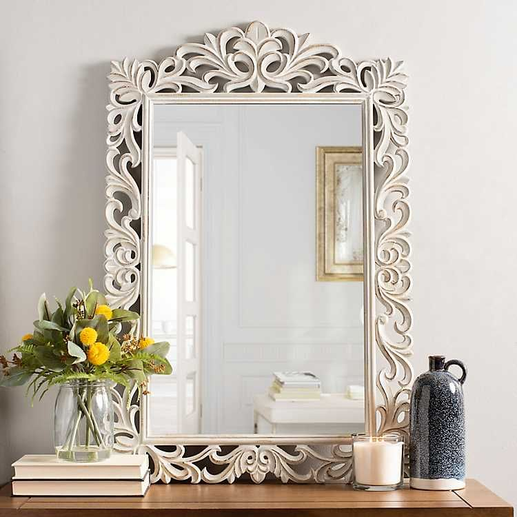 Distressed White Carved Ornate Scroll Mirror White Wall Decor Distressed White Guest Room Decor