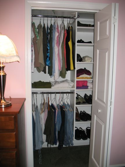 Designs for small closets white reach in closetssmall for Storage ideas for small bedrooms with no closet