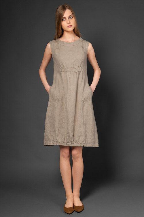 793181601 Vestido de lino puro taupe vestido para verano vestidos de