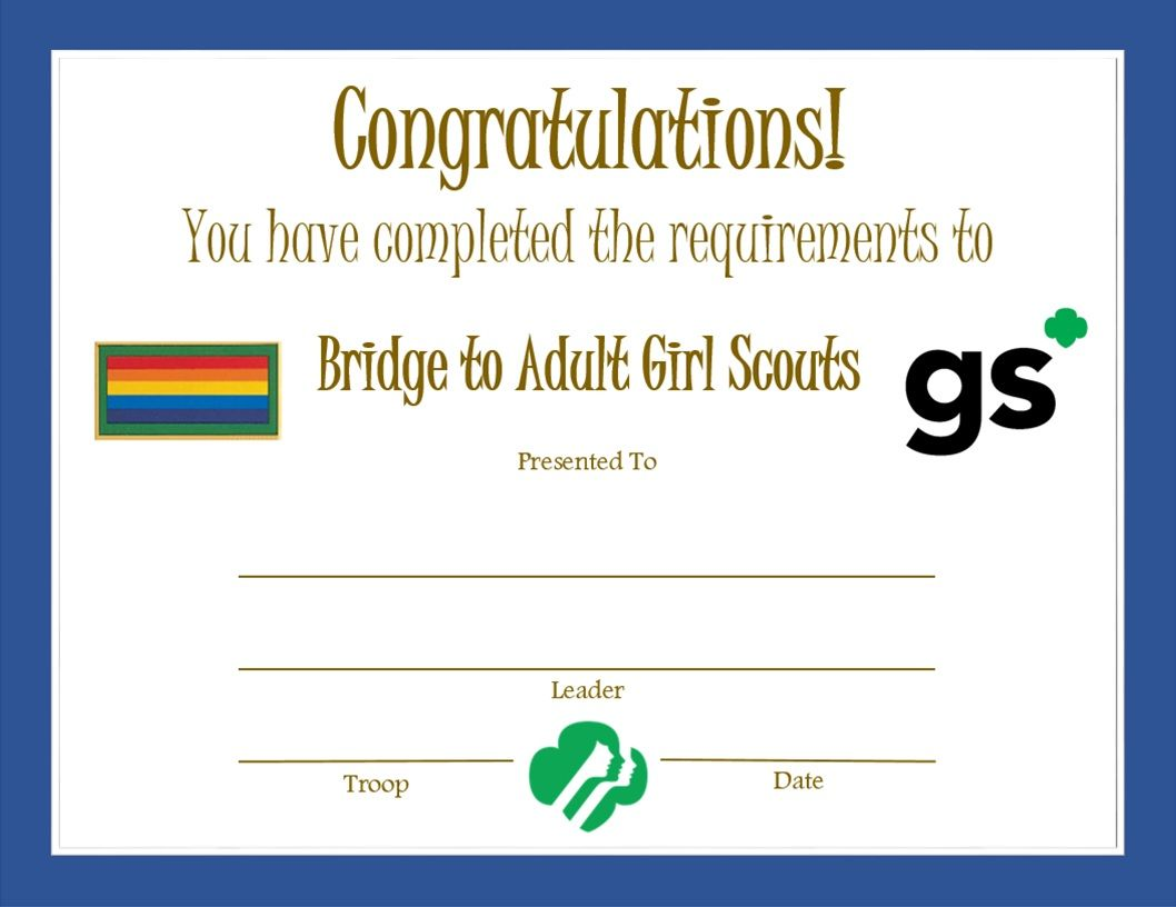 Girl Scout Leader Award Certificates