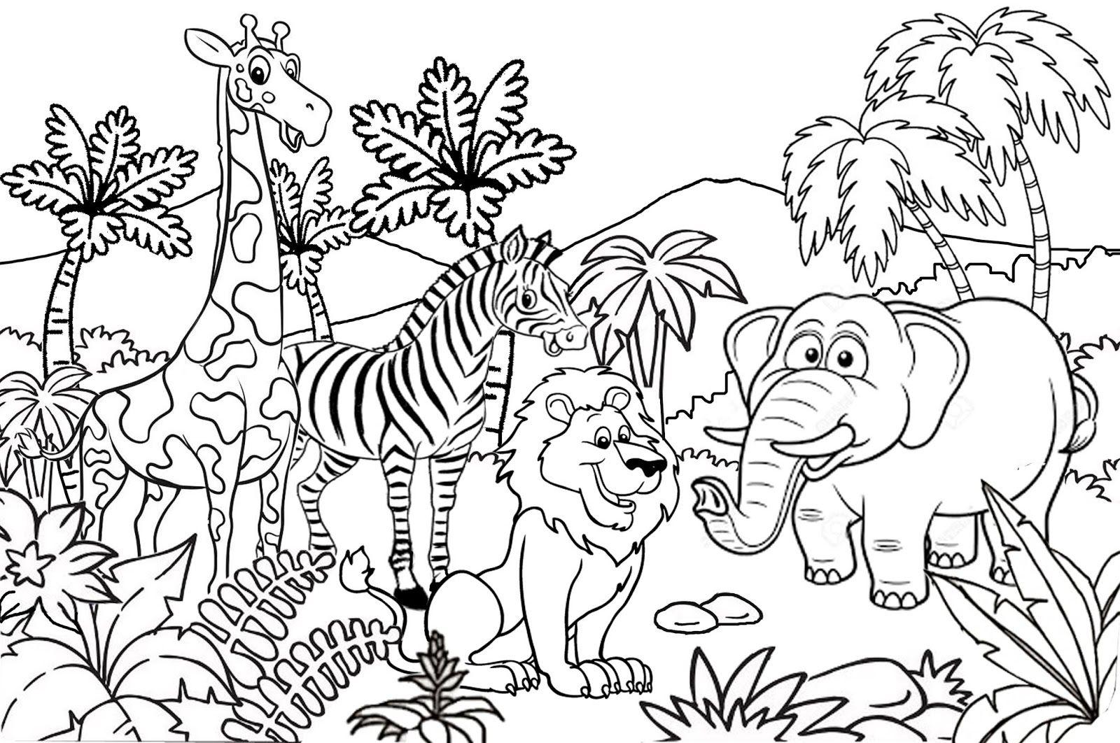 Catatanku Anak Desa Gambar Mewarnai Tema Kebun Binatang Di