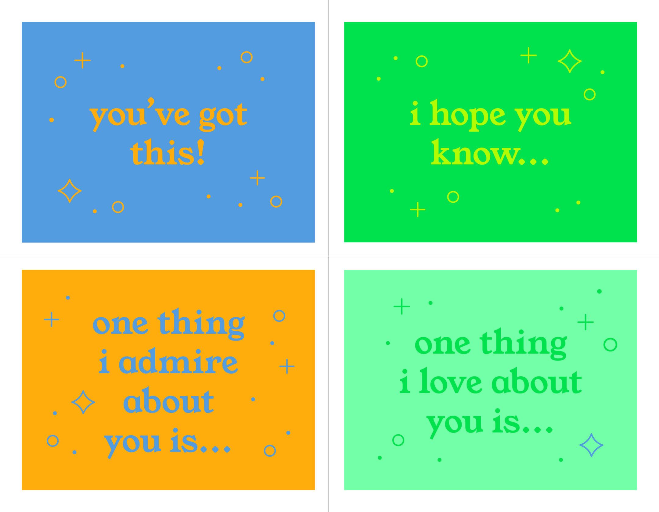 Backpack Encouragement Cards