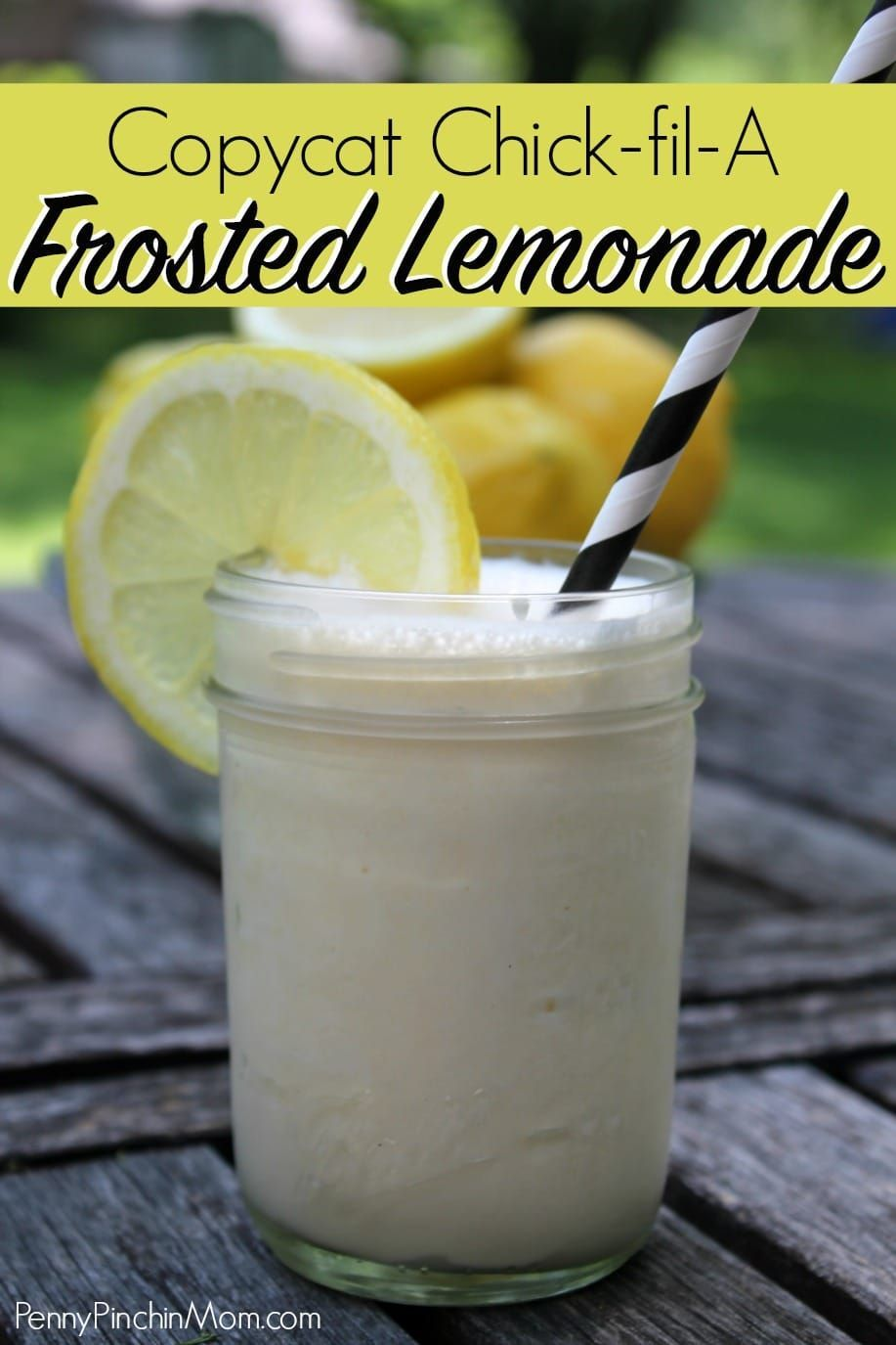 CopyCat Chick-Fil-A Frosted Lemonade #frozenlemonade Copycat Recipe: Chick-fil-a Frozen Lemonade! This easy lemonade recipe is perfect for spring or summer! Find out how you can easily make this frozen lemonade for pennies a serving right at home. Copycat recipes | Chick-fil-a recipes| Frozen Lemonade | Summer Drinks | DIY | Homemade | lemonade | lemon recipes | frozen drink recipes #chickfila #lemonade #drinkrecipes #frozenlemonade