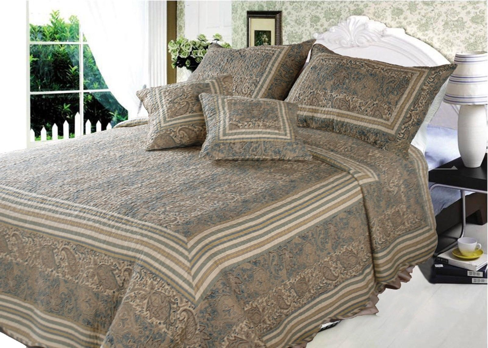 DaDa Bedding Reversible Cotton Paisley Paradise Quilt Bed Set, King, Queen, Twin, 3-5 Pieces