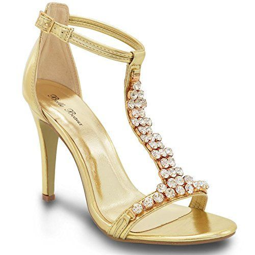 d269c3ff4134 WOMENS HIGH HEEL PARTY DIAMANTE LADIES SILVER GOLD PROM SHOES SANDALS SIZE 3 -8