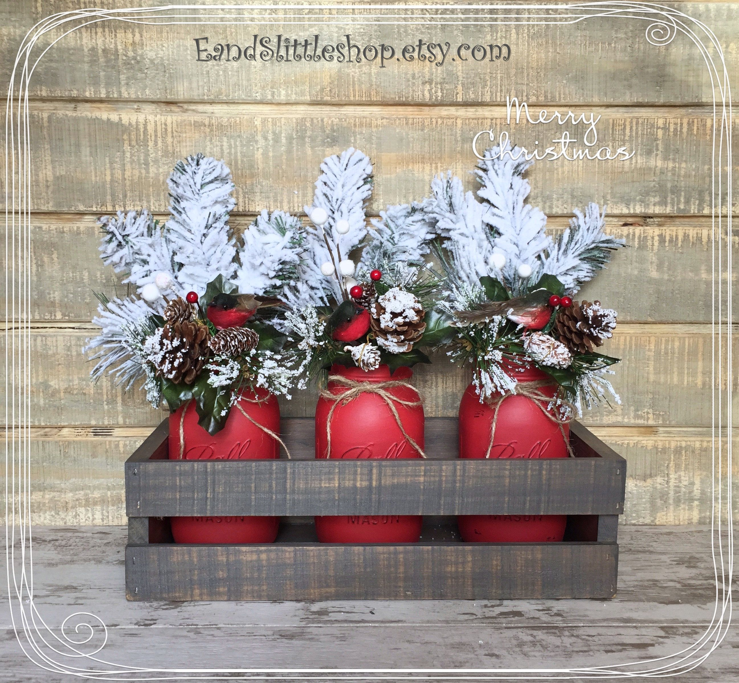 Mason Jar Christmas Centerpiece Mason Jar Christmas Decor Rustic D Cor Wooden Planter