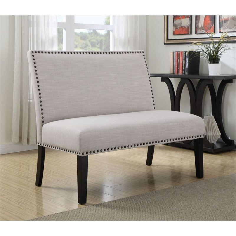 Lowest Price Online On All PRI Fabric Living Room Bench In Grey
