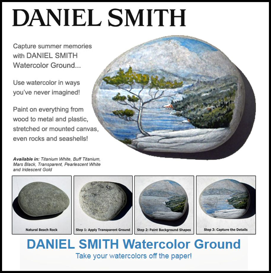 Daniel Smith Transparent Watercolor Ground Applied To A Rock And