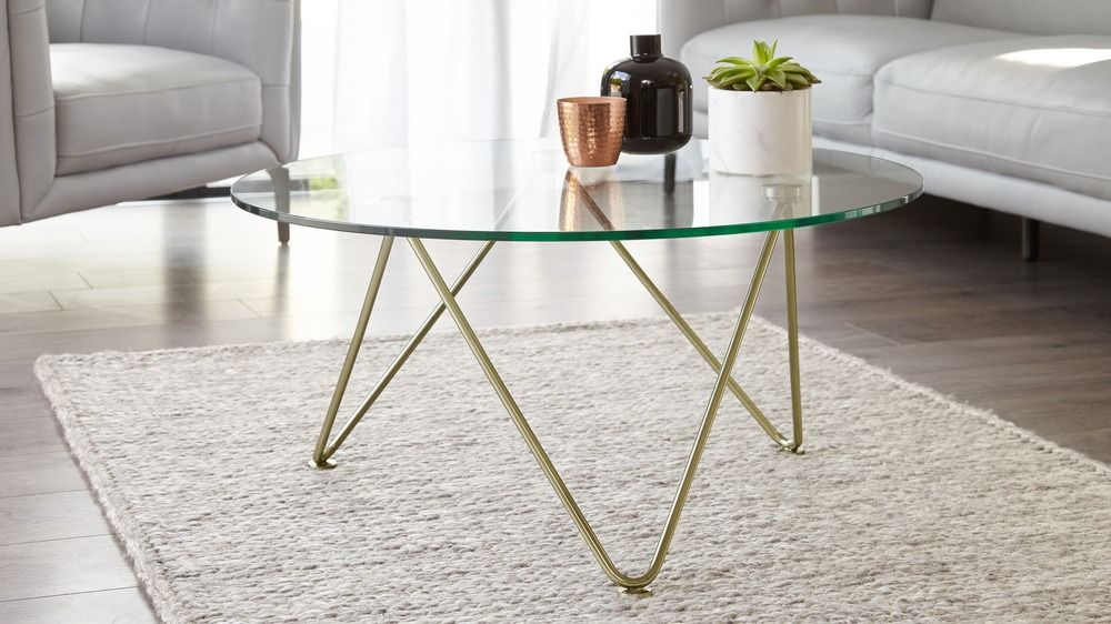 Ripple Glass And Brass Coffee Table Round Glass Coffee Table
