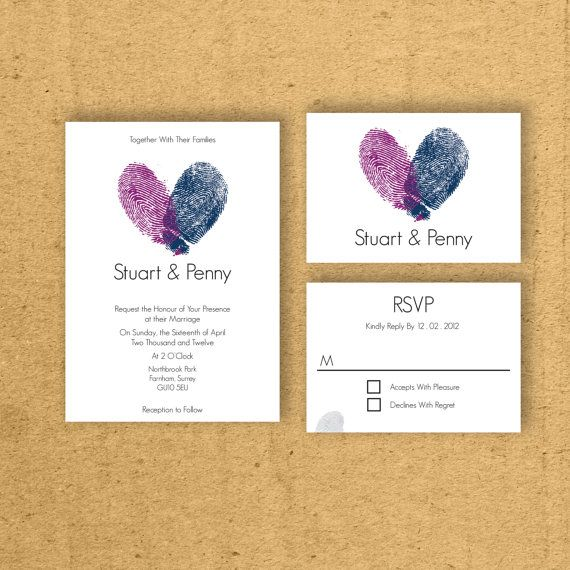 personalize your wedding invitation using your fingerprints to share a heart