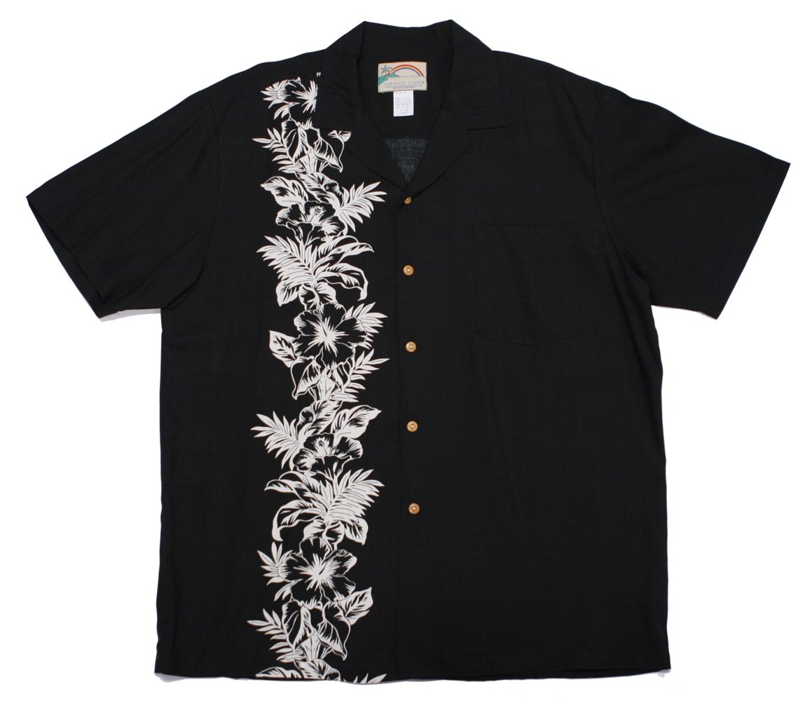 paradise found mens hawaiian shirt hibiscus panel black | Fa-Fa-Fa ...