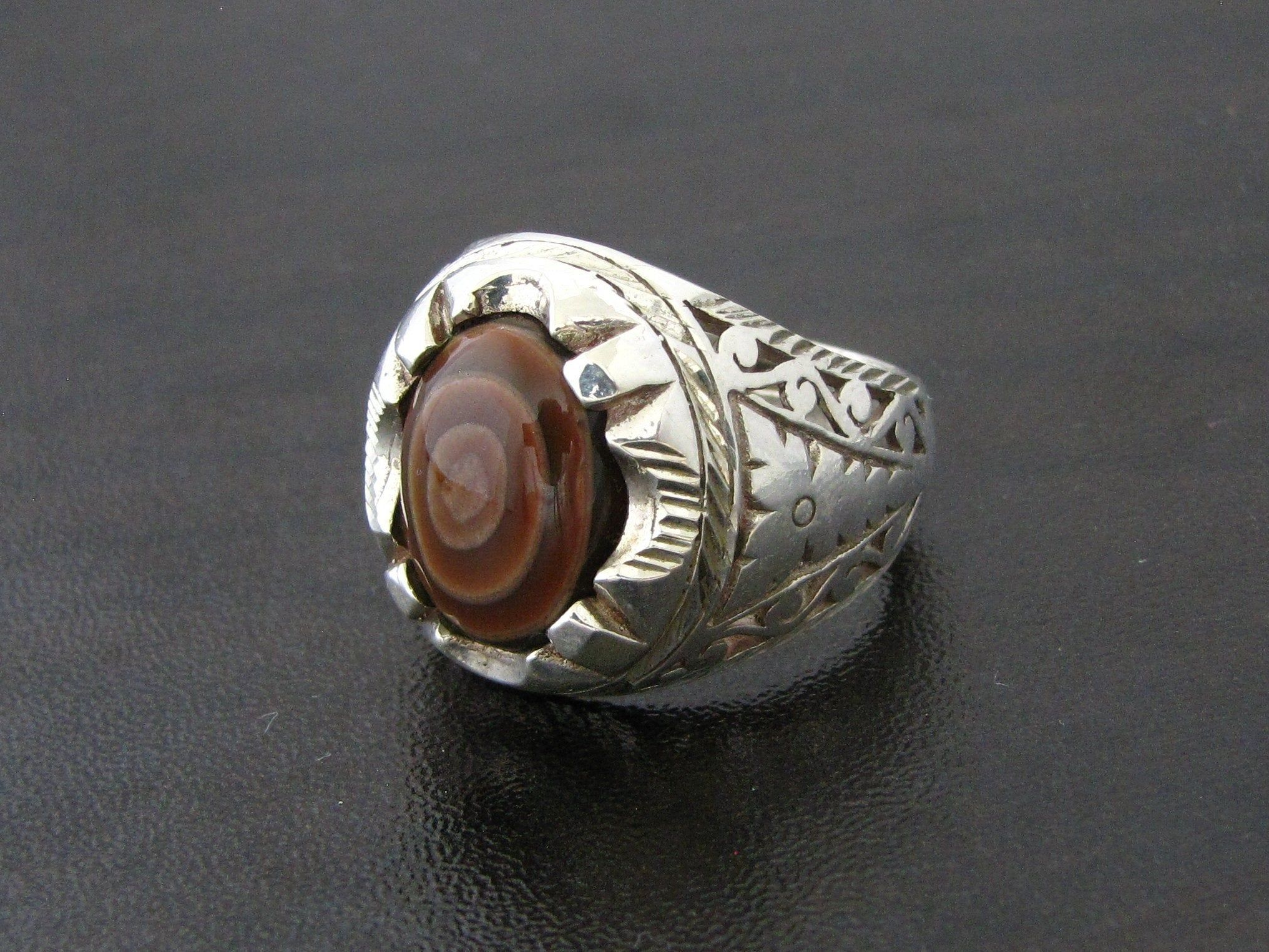 925 Silver Ring With Genuine Yemeni Sulaymani Onyx Agate Sz10 Etsy Silver Rings Rare Pendant Lovely Necklace