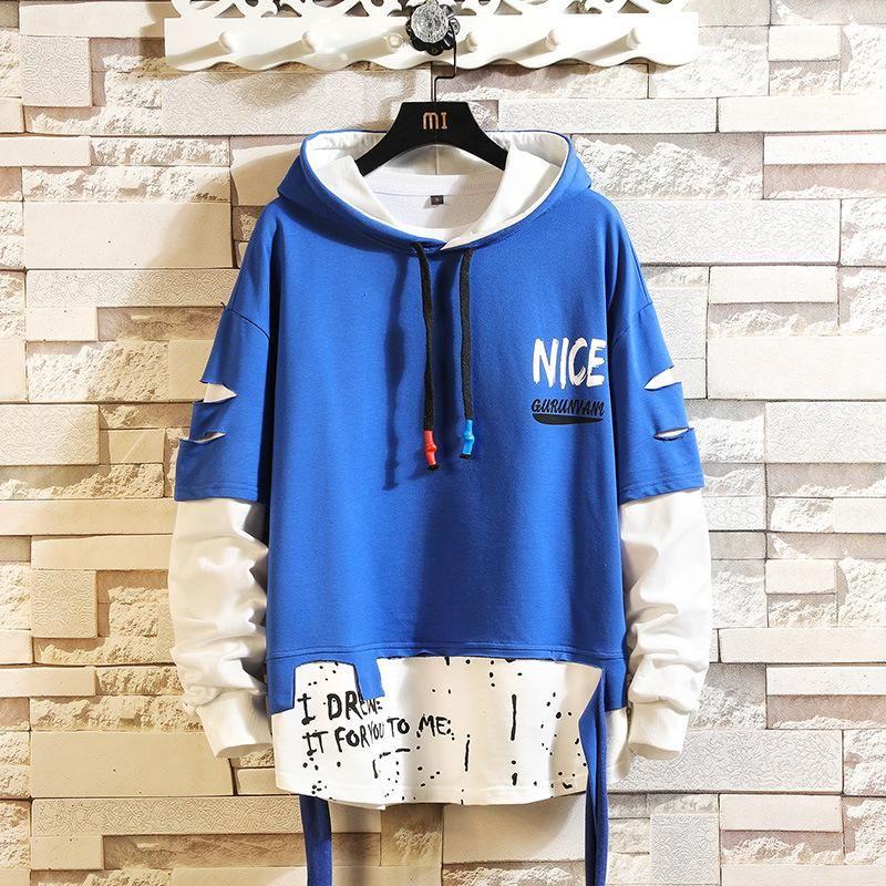 Men Printed colorblock hoodie long sleeve personality sweater – Elbiseler-ayakabılar vb…