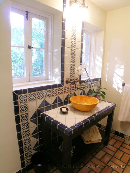 Bathroom In Spanish rustic, shabby chic vessel sink with spanish tile in a spanish