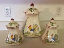j. willfred CHARLES SADEK Rooster Canister Set made In Portugal