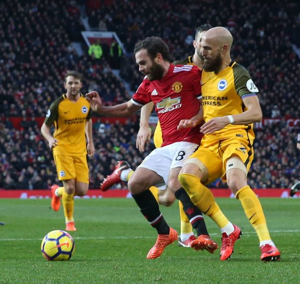 Juan Mata Of Manchester United In Action With Bruno Saltor Grau Of Brighton And Hove Albion During The Prem Brighton Hove Albion Manchester Manchester United