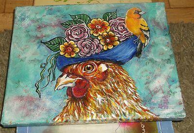 ORIGINAL #ACRYLIC #PAINTING ON #CANVAS ART LADY CATHY CHICKEN FARM ANIMAL #BIRDS