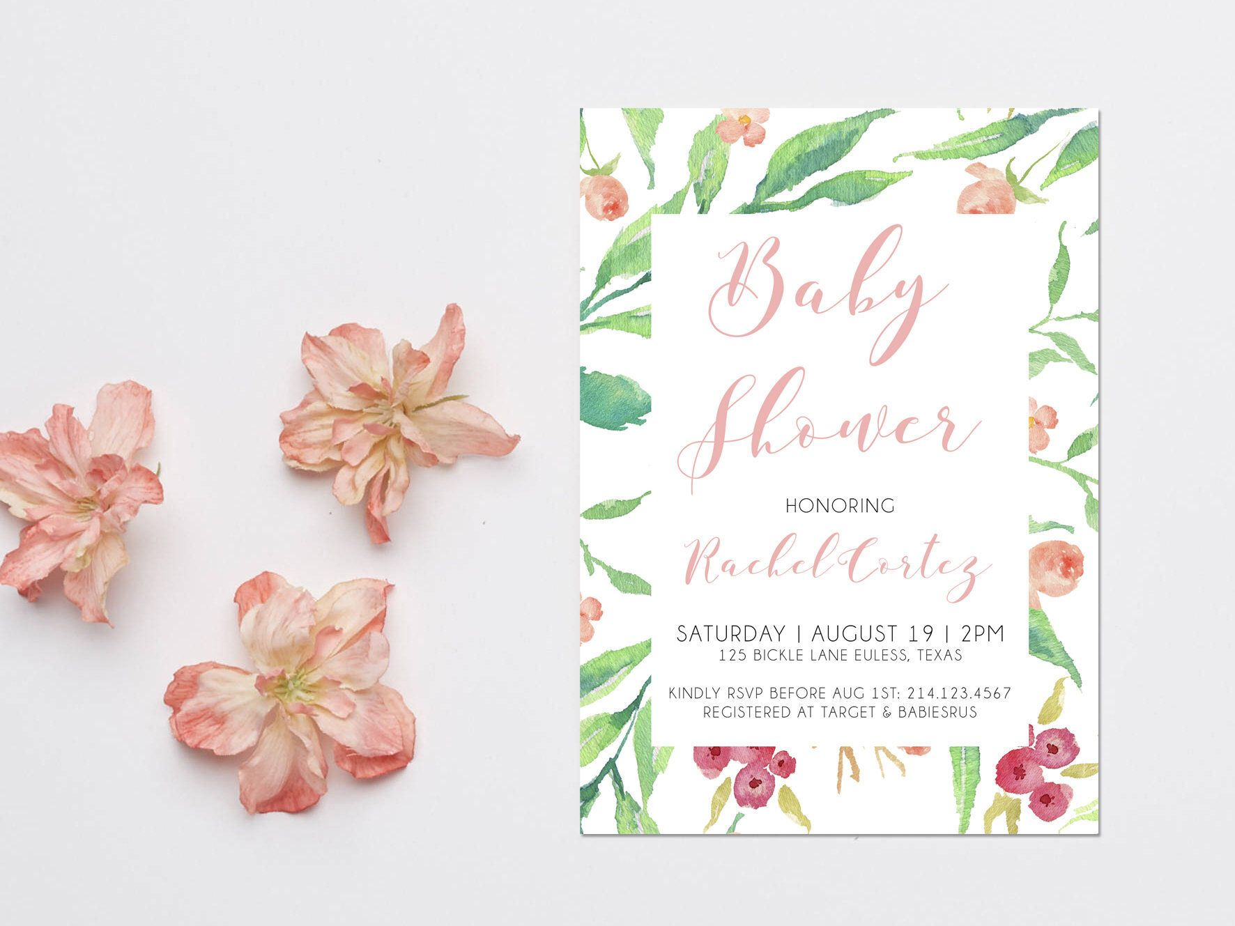 Boho Spring baby shower invitations | Invitations/Party Printables ...