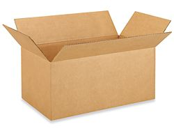 """18"""" x 10"""" x 8"""" Corrugated Boxes - Double can organizer. Fits 2 cans side by side in 10"""" area opening. 18"""" allows for pantry depth cabinet. Height of 8"""" allows for cans to slide down an inside ramp and come out the bottom."""