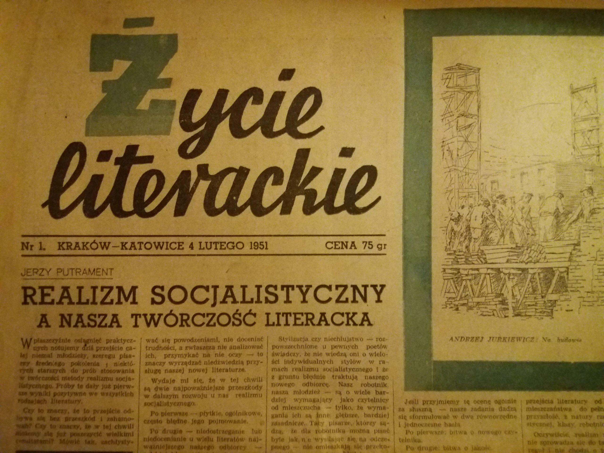 Zycie Literackie Nr 1 Z 1951 R Okazja 7719825583 Oficjalne Archiwum Allegro Playbill