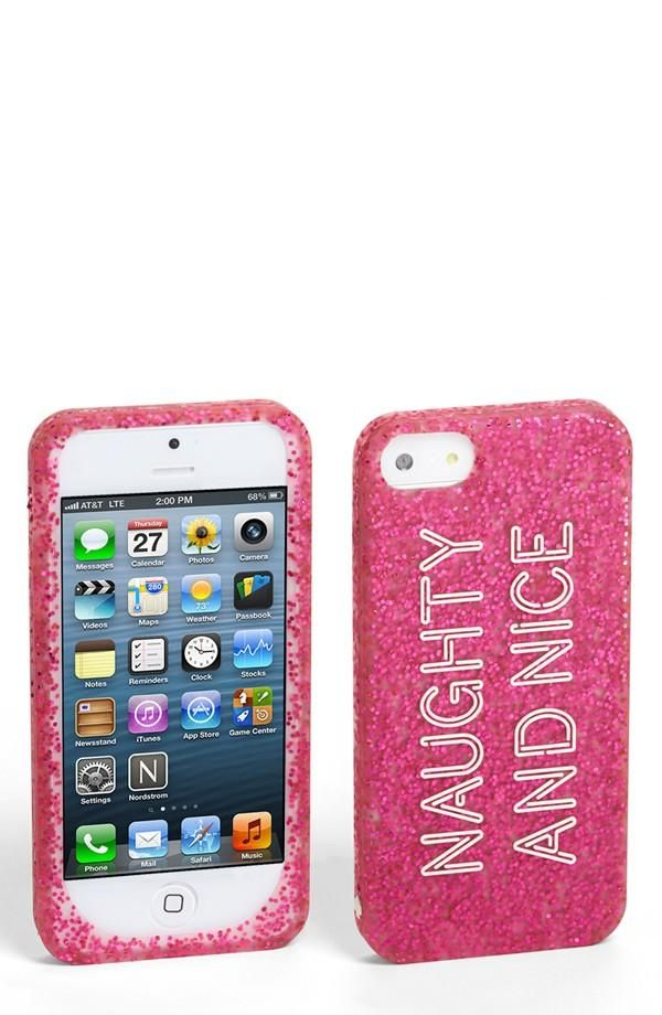 """Glitter """"Naughty and Nice"""" iPhone case - great stocking stuffer!"""