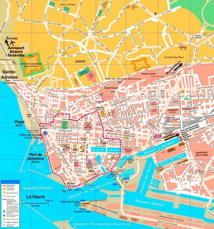 Le Havre tourist map Maps Pinterest Tourist map France and City