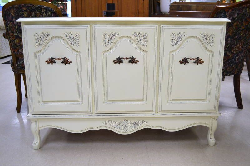 """French Provincial Antique White Sideboard with Original Hardware and Queen Anne Legs - 2 Side Cupboards, 1 Fixed Shelf and 1 Small Drawer - A Perfect Shabby Chic Condo Size! - 43"""" W x 28"""" H x 16"""" D"""