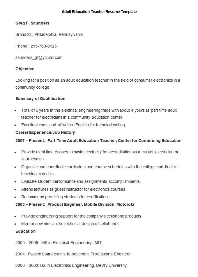 17+ Teacher Resume Templates Teacher resume template