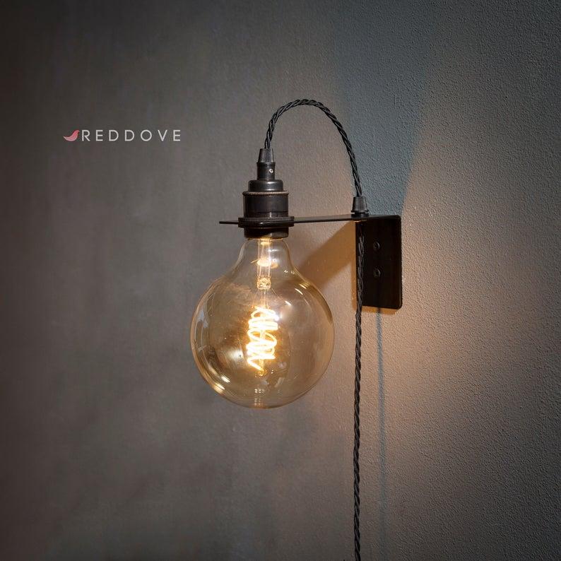 Metal Wall Bracket With Plug In Light Pendant With Period Lamp Etsy In 2020 Wall Brackets Pendant Lighting Lamp Holder