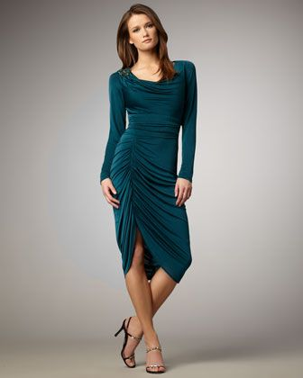 Long-Sleeve Ruched Dress | Would If I Could! ^(,^ | Dresses ...