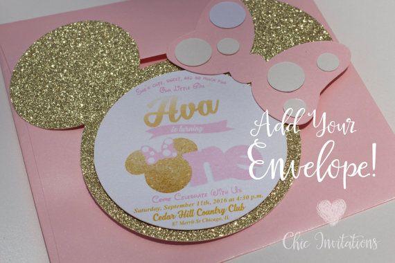 Minnie Mouse Invitation Gold And Pink Por Chicinvitationsbyca