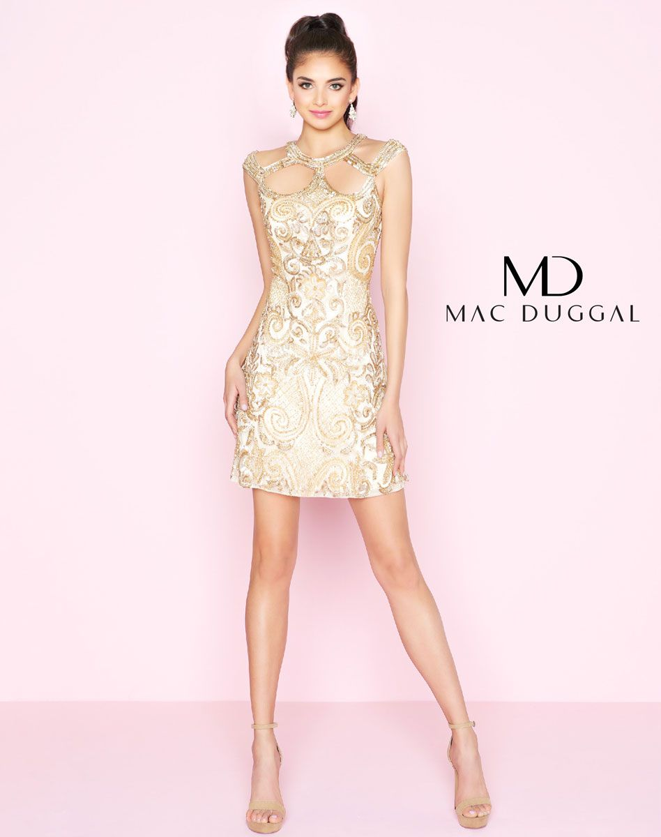 Fitted dress featuring sequin embellishments and a unique high