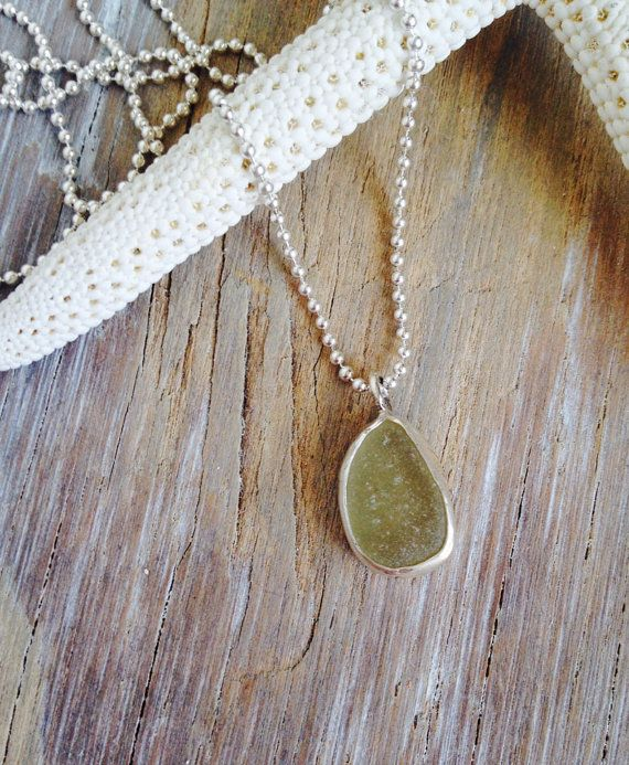 Sea Glass Pendant | Itty Bitty Bezeled Sea Glass Necklace | Sterling Silver Necklace | Rustic