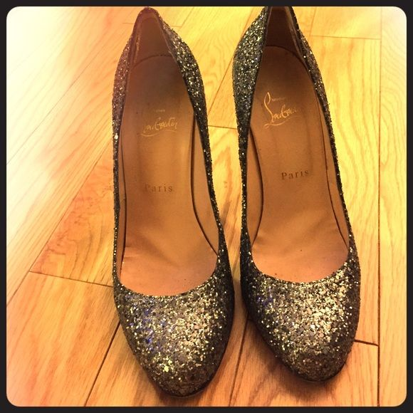 """Christian Louboutin Pumps Pewter Gliter Louboutin Pumps 4"""" heel. These are a sz 38 and fit a sz 7. I got rid off the box but can provide the dust bags. Christian Louboutin Shoes Heels"""