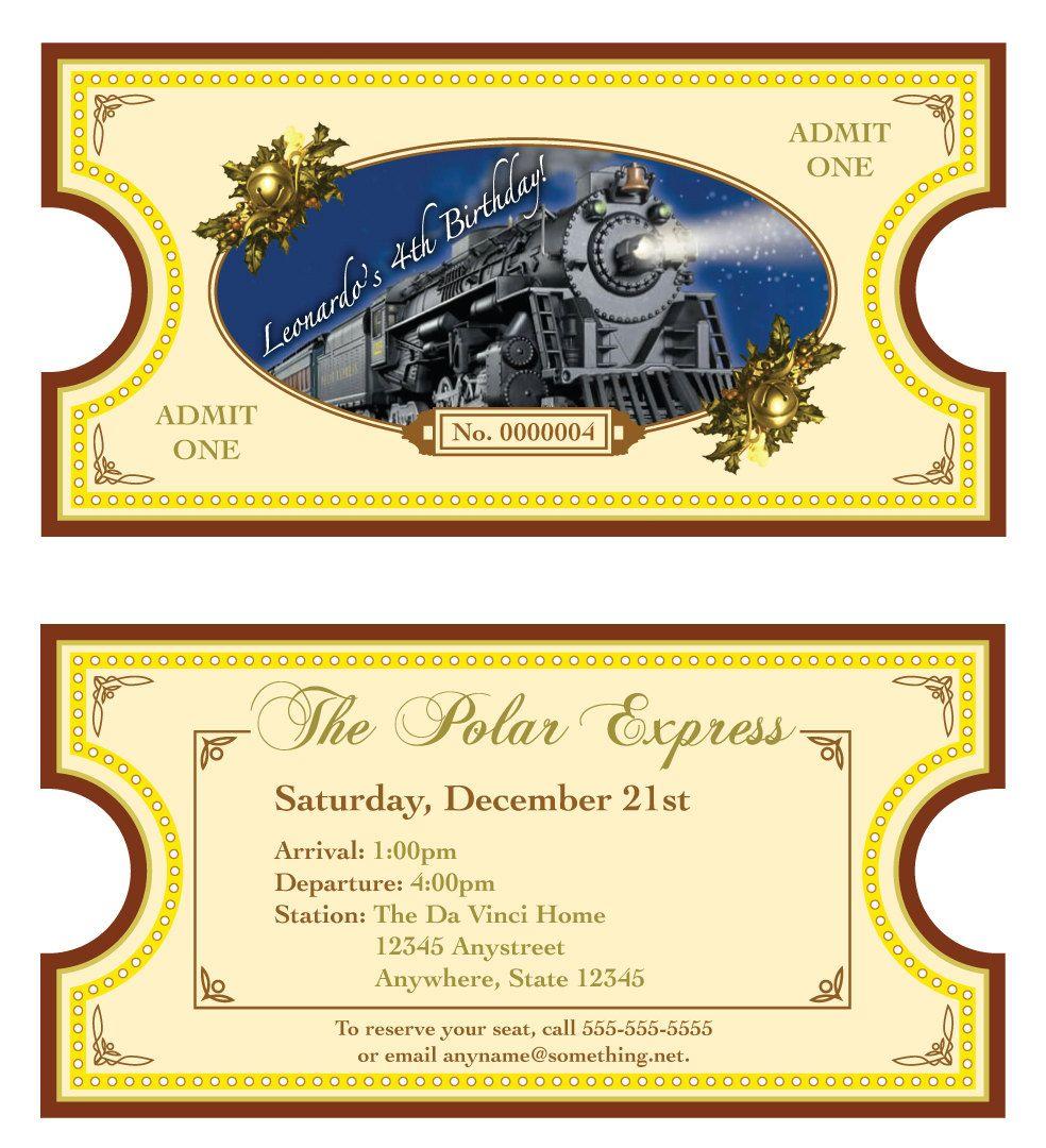 Polar express theme invitation diy printable by for Polar express golden ticket template