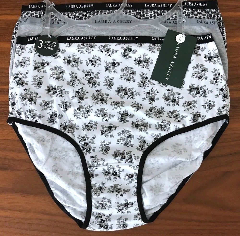 5950744c0695 3 PACK LAURA ASHLEY WOMEN'S COTTON STRETCH BRIEFS PANTIES SIZE L MULTI NWT  #LauraAshley #BriefsHiCuts #Everyday