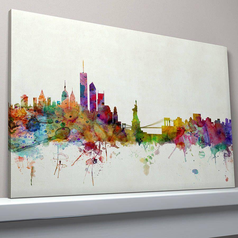 New York Nyc Skyline City Single Canvas Wall Art Picture: New York City Skyline