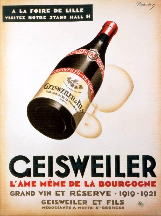 1919 GEISWEILER SPARKLING WINE BOTTLE BOURGOGNE FRENCH VINTAGE POSTER REPRO #Vintage