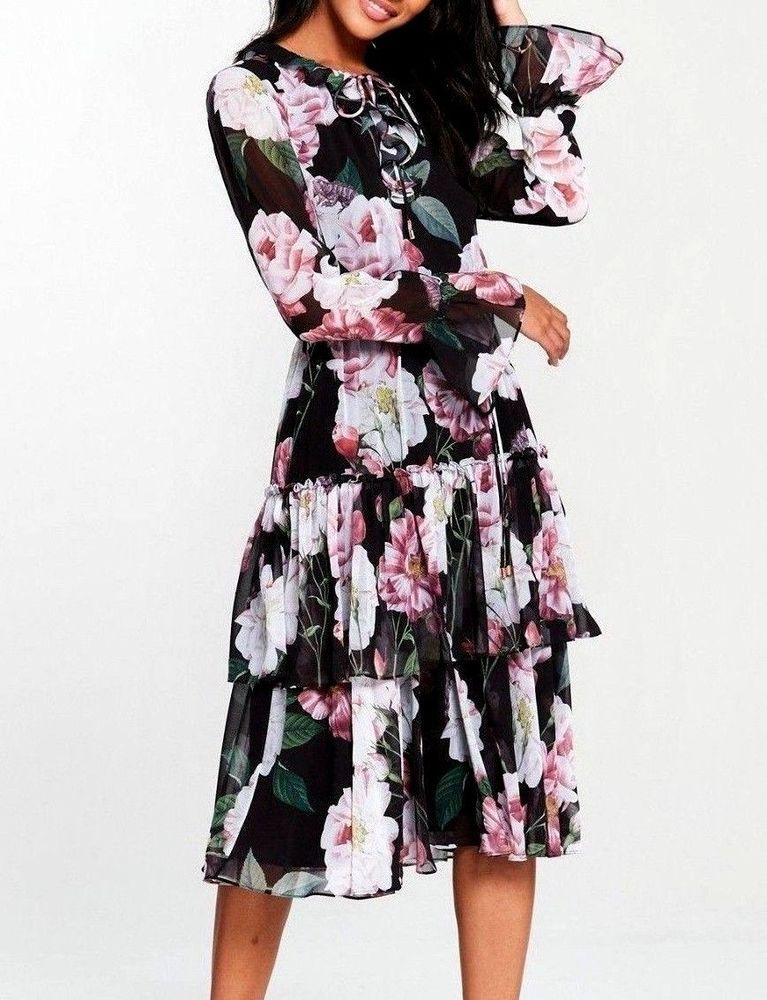 2606e87f7 Ted Baker Betsie Floral Iguazu Midi Cocktail Feminine Party Dress 2 10 38  New  TedBaker