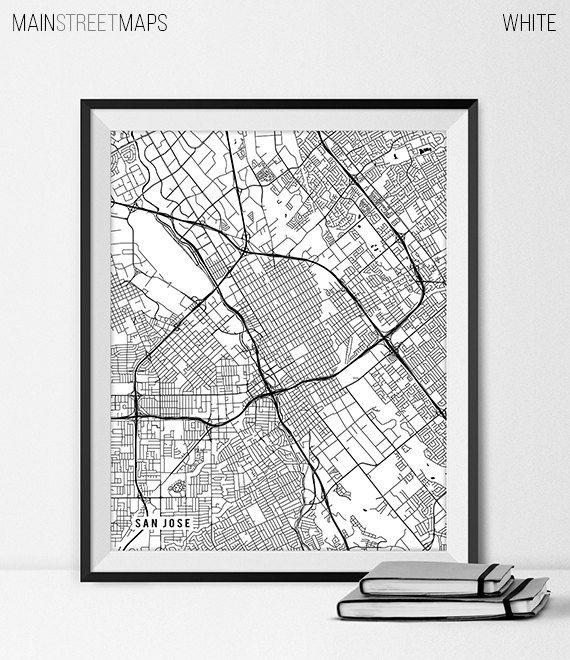 San Jose California State Map Art Print, San Jose State ...