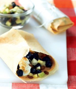 Grab and Go Mixed Fruit Burrito Use store-bought 9-inch crêpes (10 to a package)  Spread 1 teaspoon peanut butter OR cream cheese on one side of each crêpe. In centre of each crêpe, mound equal portions of banana, pear, blueberries and craisins. Place 2 tablespoons yogurt on top. Dust with cinnamon.