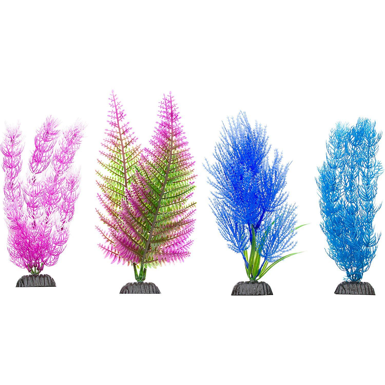 Petco Colorful Plastic Aquarium Plants Midground Value Pack With
