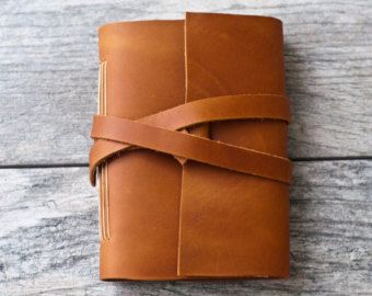 Leather Journal or Leather Notebook Travel by acheeryblossom